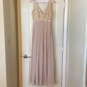 ModCloth Gorgeous Blush Gown w/Gold Sequin Detail